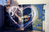 Outline of a white heart, a mural