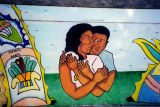 Couple embracing, a mural