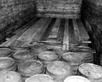 Wood planks on liquor barrels