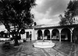 Olive court with fountain, Scripps College