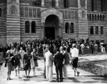 Students emerge from the library, U.C.L.A.