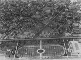 Rose gardens at Exposition Park, aerial