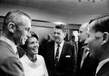 Govenor Reagan and wife talk with astronauts