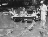 Women with alligators