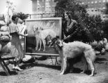 Painting of two Russian Wolfhounds, view 1