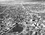 Aerial view of MacArthur Park and Wilshire area
