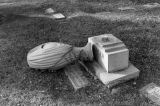 Gravestone damaged during earthquake