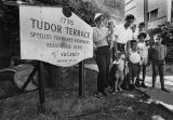 Manager and tenants, Tudor Terrace in Watts
