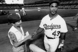 Raul Mondesi with Dodger fan