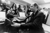 Bill Bradley visits with classroom students