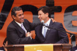 Antonio Villaraigosa and Fabian Nun~ez