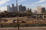 Construction of USC's Galen Center, panoramic view