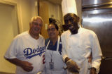 Tommy Lasorda with cooks at Dodger Stadium