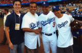 Antonio Villaraigosa and Cesar Izturis, Dodger Stadium
