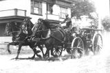 Horse-drawn fire engine answers fire call