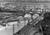 Los Angeles River and railroad tracks