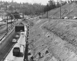 Freeway work at south end of Cahuenga Pass