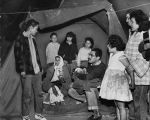 Evicted family in tent