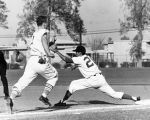 Pierce's Jimmy Yuill in a futile hurry to reach first base