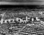 Century City model superimposed on aerial photograph