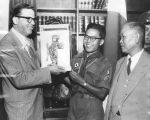 Poulson accepts gift of Japanese doll
