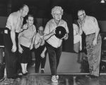 Edlerly woman bowling