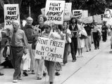 Demonstrators demand rent freeze, 1977