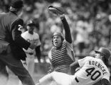 Gary Carter holds his glove up