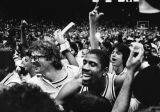 Fans celebrate with Lakers