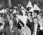 Crowd waves 'Los Angeles Dodgers' pennants