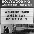 Hostages welcome sign