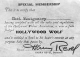 Hollywood Wolves Association membership card for Chet Montgomery