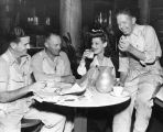 Loretta Young joins carpenters for lunch