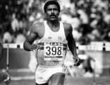Daley Thompson wins 110 hurdles