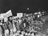 Anti-war protesters speak out during President Johnson's visit