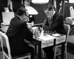 Samuel Reshevsky and Robert J. (Bobby) Fischer in chess tournament