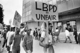 Long Beach State students and supporters picket LBPD