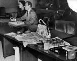Actress Hedy Lamarr, her attorney Jordan Walk and the prosecutor's evidence