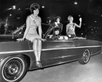 Beauty contestants at Los Angeles Auto Show