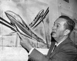 Walt Disney shows sketch of monorail