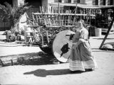 Woman and wooden cart, Olvera Street