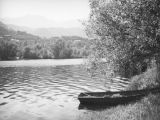 Rowboat moored at Malibu Lake
