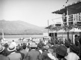 Watching a race from the viewing platform at Santa Anita Racetrack