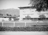Round stables and grandstand at Santa Anita Racetrack