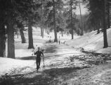 Big Pines Recreation Camp, skier on a muddy trail