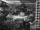 Ethel Schultheis, garden party at Mrs. Morton's Laguna Beach home