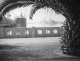 L. A. Harbor, steamships and decorative wall