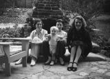 Ethel Schultheis, friends and a toddler, Universal City patio