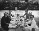 Ethel Schultheis at a picnic with friends
