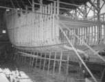 Building a wooden ship at Terminal Island